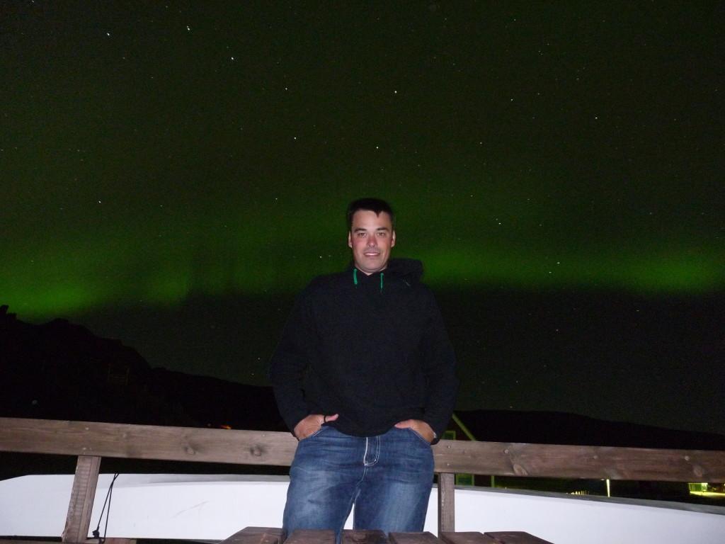 Matteo e l'aurora boreale in Groenlandia